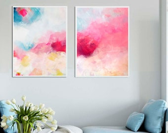 Creamcicle Pink Abstract Fine Art Print Set, Modern Home Decor, Acrylic Painting in Hot Pink, Wall Art UK