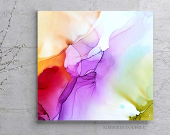 Bright Abstract Floral Fine Art Giclee print, Square Painting Purple Flower Interior Design, Home Decor, Wall Art Ideas