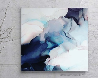 Contemporary Abstract Fine Art Print Original White Home Decor Dark Atmosphere Signed Canvas Kimberly Godfrey