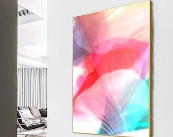 Pastel Mint & Pink Petals Abstract Fine Art Print, Modern Interior Design, Living Room Decor, Oversized Wall Art, UK