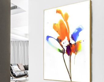 Minimal Abstract Fine Art Print, Modern Home Decor, Golden Bloom, Oversized Yellow Floral Wall Art, UK