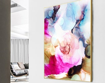Blush Rose Abstract Fine Art Print, Home Decor, Soft Blue Floral Art for Livingroom, Bedroom Wall Art, UK