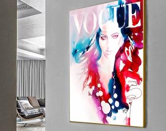 Fashion Fine Art Fashion Print, Watercolor Haute Couture, Chic Runway Model Red Hair, Salon decor Wall art