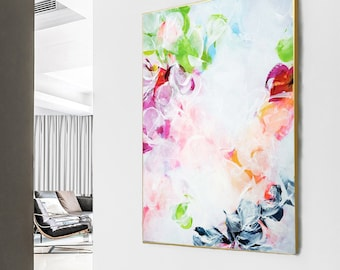 Abstract White Blossom Art Print, Modern Home Decor, Large Pink Floral Canvas Painting, Wall Art for Office