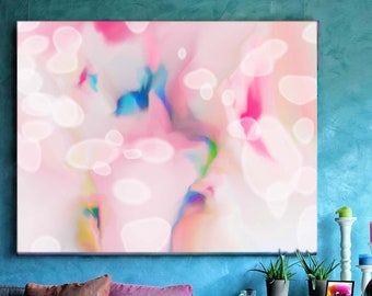 Snowdrops Fine Art Print, Light Pink Abstract Canvas, Pastel Home Decor, Soft Pink, White Petals