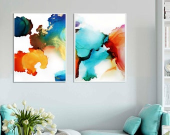 Abstract Art Prints, Orange and Aqua Blue Ink Painting, Teal Interior Design, Wall Decor