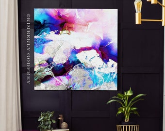 Cobalt Blue Abstract Art Print, Large Embellished Painting, Modern Interior Design, Contemporary Wall Art