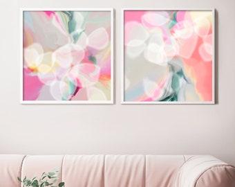 Oxygen Blush Abstract Set of 2 Fine Art Prints, White Interior Design, Light Pink Painting, Grey Wall Art