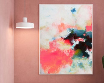 White Hydrangea Abstract Fine Art Print, Contemporary Blush Peach Interior Design, Coral Pink Wall Art, Office Wall Decor, UK