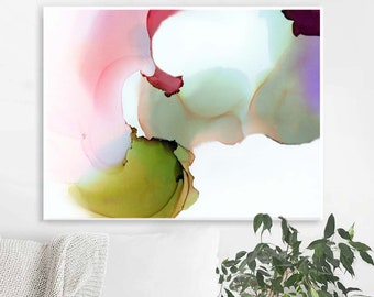 Coral Pink & Grey Abstract Floral Art Print, Contemporary Pastel Petals, Large Flower, Oversized Modern art