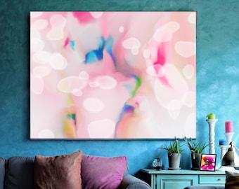 Pink Snowdrops Fine Art Print, Light Abstract Canvas, Pastel Home Decor, Soft White Petals, UK Artist