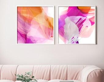 Hot Pink Floral Abstract Art Print Set, Large Cerise Orange Flowers, Splash of Colour for Home Decor, UK artist