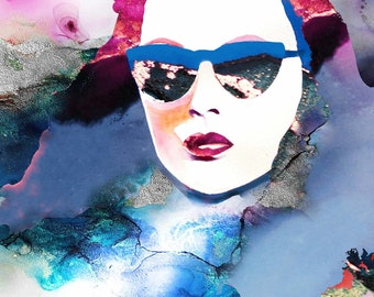 Turquoise Rose Fashion Illustration, Retro Style Large Wall Art, Hot Pink Beauty Salon, UK Artist