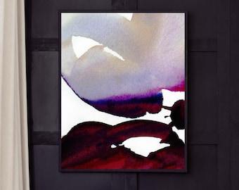 Merlot Abstract Print, Grey Aesthetic Interior Design, Oversized Floral Canvas, Modern Wall Art, UK