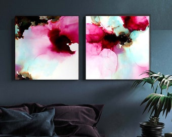 Sage & Peony Art Print Set of Abstract Flowers, Dark Pink, Mint Green Home Decor, Minimal Wall Art Interior Design