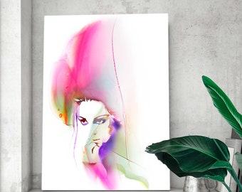 Sakura Blossom, Fashion Illustration, Watercolor Beauty, Pink Aesthetic, Unique Wall Art, Salon Decor
