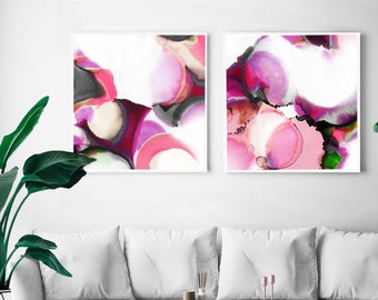 Pomegranate & Rose Abstract Fine Art Print Set, Interior Design, Modern Pink Abstract, Room Aesthetic Decor