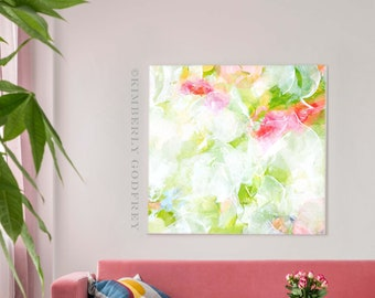 Lime Green Petals Abstract Fine Art Print, Pale Pinks, Oversized Canvas, Light Pastel Home Decor, White Aesthetic, UK