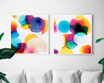 Yellow Pink Abstract Art Print Set, Large Blue Soft Bubble Art for Home, Bright Colourful Nursery Decor