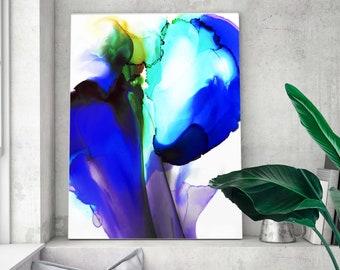 Cobalt Blue Floral Abstract Art Print, Modern Home Decor, Purple Flower, Colourful Wall Art UK