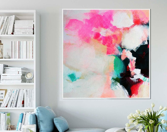 Featured listing image: Pink Hydrangea Abstract Art Print, Reproduction Giclee print, Oversized Canvas, Interior Style, Wall Decor, British Art, UK