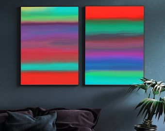 Contemporary Bright Red Abstract Print Set, Colourful Modern Home Decor, Dark Grey Wall Art UK