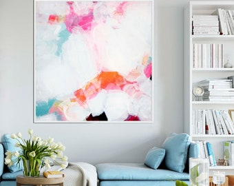 Orange Blush Fine Art Print, Soft White  Abstract Contemporary Canvas, Home Decor, Large Embellished Wall Art
