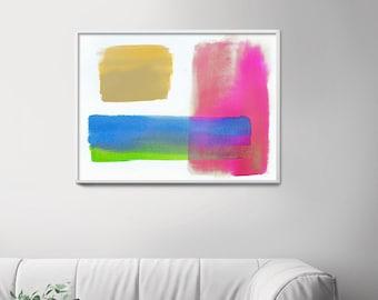 Serotonin Pink Abstract Print, Retro Contemporary Decor, Yellow Aesthetic, Mid Century Blue Wall Art, UK artist