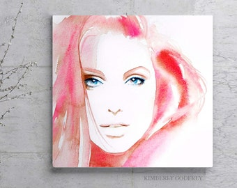 Coral Blush Fashion Portrait, Art Print Glam Pink Painting for Salon Decor by Kimberly Godfrey