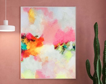 Contemporary Pink Abstract Art Print, Gold leaf, Bright Yellow Modern Painting, Home Decor, Wall Art