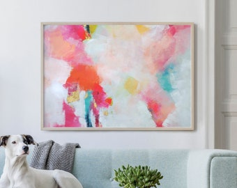 Miami Peach Abstract Fine Art Print, Home Office Decor, Modern Pink Painting for Living Room, Wall Art, UK