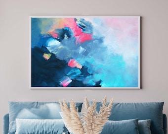 Blue Tempest Fine Art Print, Grey Abstract Canvas, Teal Home Decor, Soft White Interior Design, UK Artist