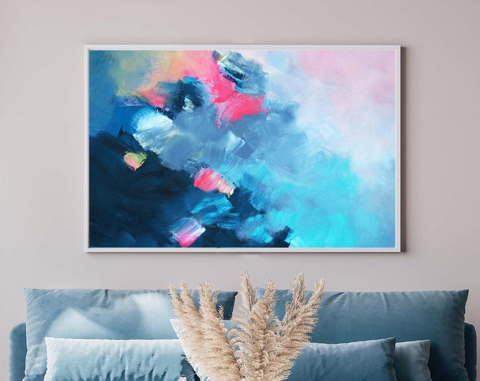 Featured listing image: Blue Tempest Fine Art Print, Grey Abstract Canvas, Teal Home Decor, Soft White Interior Design, UK Artist