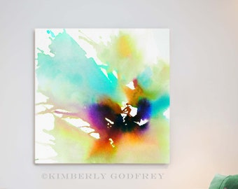 Mint Flower Abstract Fine Art Print, Modern Watercolour, Room Decor Aesthetic, Floral Wall Art,  UK Artist