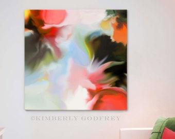 Orange Begonia Abstract Art Print, Floral Aesthetic, Wall Decor, Avocado Green Modern Art, UK Artist