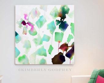 Seafoam Green Abstract Art Print, Light Teal Interior Design, Watercolour Painting, Pale Blue Aesthetic, UK artist