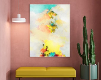 Buttercup Abstract Fine Art Print, Light Yellow Painting, Pale Blush Home Decor, White Interior Design UK