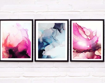 Set of 3 Abstract Pink & Grey Jewel Tone Fine Art Prints Home Decor, Livingroom, Contemporary Art