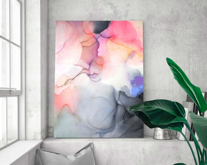 Featured listing image: Pastel Coral Pink Grey Abstract Fine Art Print, Modern Home Decor, Living Room Oversized Wall Art, UK