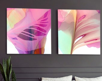 Tiger Mint Abstract Art Print Set, Large Tropical Floral Set, Bright Pink Wall Art for Home Decor, UK