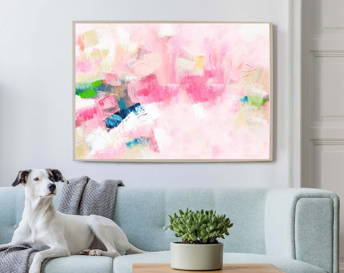 Featured listing image: Pink Aesthetic Abstract Art Print, Contemporary Modern Living room Art, Home Office, Wall Decor, UK