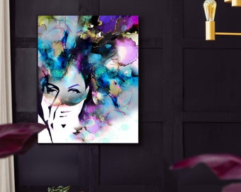Fashion Illustration Art Print, Watercolor, Purple Aesthetic, Modern Updo, Gold Leaf, Unique Beauty Salon Teal Prints