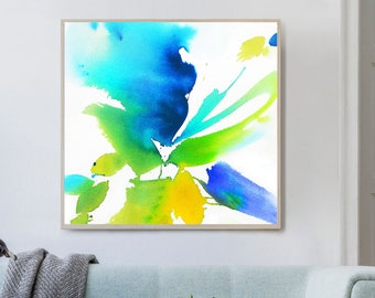 Spring Lily Abstract Fine Art Print, White Teal Green Floral Wall Art, Large Yellow Canvas Art, UK Artist