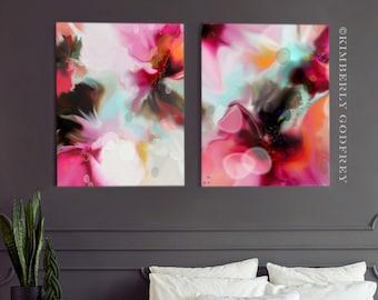 Red Abstract Geraniums Fine Art Prints, Orange Home Decor, Interior Design, Grey Wall Art, Floral Canvas Set