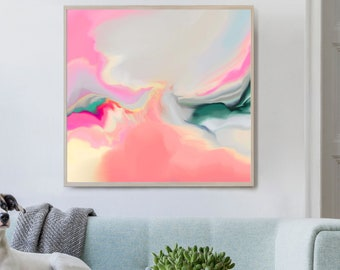 Pastel Coral Grey Fine Art Print, Soft Abstract Art, Oversized Blush Pink Wall Art, Interior Aesthetic, UK