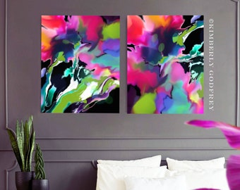 Passiflora Set of Abstract Floral Art Prints, Pink Flowers, Bright Interior Design, Colourful Tropical Wall Art Decor, UK