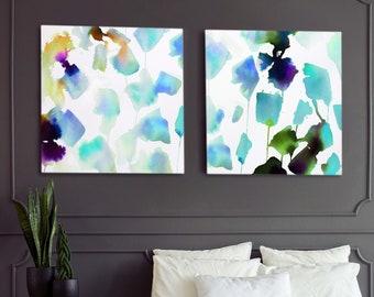 Seafoam Petals, Set of 2 Art Prints, Abstract Prints, Blue Green Teal Interior Design, Wall Decor, UK Artist