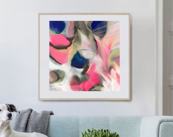 Royal Blue Cerise Abstract Fine Art Giclee Print, Interior Design, Pink Wall Decor, Room Aesthetic, UK