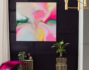 Blush Pink Lily Abstract Art Print, Soft White Modern Wall Art, Zen Decor, Oversized Flower Canvas Art, UK