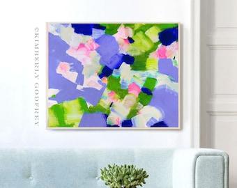 Bluebells & Blush Pink Petals, Abstract Art Print, Large Oversized Modern Abstract Art, Livingroom Decor, UK Artist